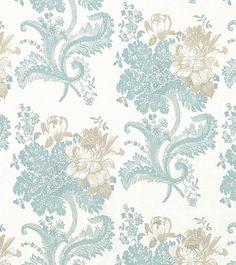 "Std Wp Rose Hill Duck egg - wallpaper width 53cm (21""); roll length 10m (33"") - Wallpaper"