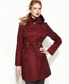 Via Spiga Raincoat, Hooded Belted Funnel-Neck - Coats - Women - Macy's