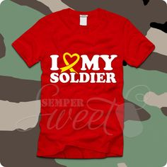 I Love My Soldier Heart Ribbon v2, $21.00 #army #military #soldier #love #redfriday