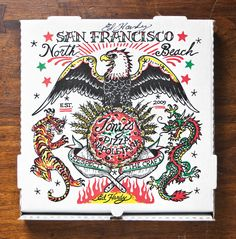 Art can come in the simplest of places, and Scott Wiener's new book Viva La Pizza!: The Art of the Pizza Box proves that you might find it delivered right to your door. Perfect Pizza, Good Pizza, Pizza Box Design, Pizzeria, Pizza Boxes, Pizza Delivery, Cool Tattoos For Guys, Illustrations, Box Art