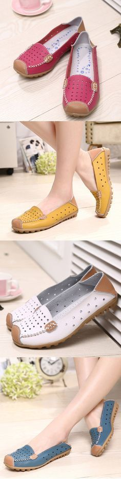 $15.61 Leather Color Match Hollow Out Soft Breathable Slip On Flat Shoes,Flat Shoes Women,loafers,Cute Shoes,Women Shoes Flats,Fashion Shoes