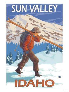 The Adirondacks, New York State - Skier Carrying Skis - Lantern Press Artwork Giclee Art Print, Gallery Framed, Silver Wood), Multi Ski Vintage, Vintage Ski Posters, Look Vintage, Vintage Signs, Retro Posters, Vintage Winter, Vintage Stuff, Whistler, Theme Sport