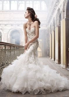 Lazaro wedding gown Ivory beaded and embroidered organza trumpet bridal gown, sweetheart neckline, tufted organza skirt, chapel train. Lazaro Wedding Dress, Lazaro Bridal, 2015 Wedding Dresses, Bridal Gowns, Wedding Gowns, Bridesmaid Dresses, Lazaro Dresses, Lace Wedding, Spring Wedding