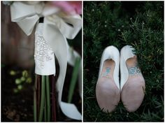bridal bouquet and brides wedding shoes with i do in blue on bottom at whitestone inn