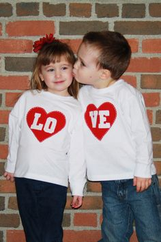 Valentine's Day LOVE Toddler size Twin or SIBLING set by klzart, $48.00