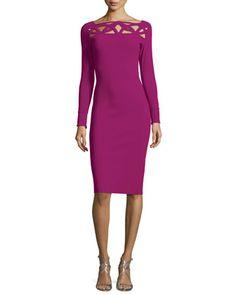 Terrie+Long-Sleeve+Cutout+Jersey+Dress,+Vinaccia+by+La+Petite+Robe+di+Chiara+Boni+at+Neiman+Marcus.