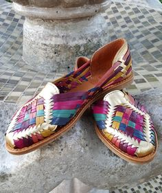 0323970230b08 Women s leather sandals. Mexican huarache sandals. Multicolor. Gold. by  LuciernagaMXFolkWare on Etsy