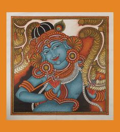 Kerala Canvas Mural of Lord Krishna with Flute - 18 Inches x 18 Inches