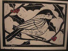 white line woodblock Linoprint, Tampons, Recycled Art, Linocut Prints, Bird Prints, Christmas Art, Art Lessons, Screen Printing, Art Projects