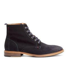 Dark blue, 100% suede ankle boots with leather details. Lacing at front, fabric insoles, and fabric lining. Rubber soles. | H&M For Men