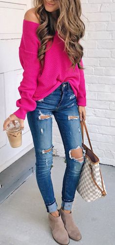#fall #outfits / pink off the shoulder knit + ripped denim