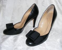 Women's Kate Spade Black Leather Classic Pumps, Oversize Bow, Made in Italy 7.5