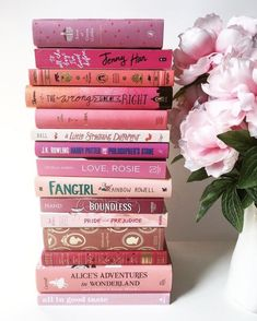 Pink book stack.