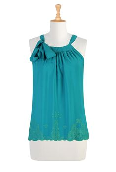 eShakti - Aqua Tie Neck Women's designer tops | Size 0-26W & Custom clothes