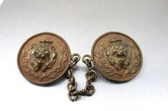 Vintage Lion Cloak Clasp Brooches Signed Hand by TonettesTreasures