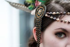 Pearl and Feather Headdress with Swarovski Crystals by LaCocoRouge