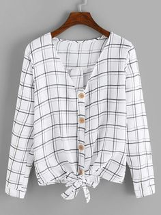 Casual Plaid Shirt Regular Fit V neck Long Sleeve Placket White Regular Length Single Breasted Plaid Knot Hem Blouse Spring Blouses, Spring Shirts, Peplum Shirts, Shirt Blouses, Blouse Styles, Blouse Designs, Striped Cami Tops, Pakistani Fashion Party Wear, Tunic Sewing Patterns