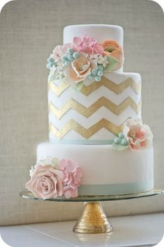 Spring Wedding Cake - with silver rather than gold. This would be so perfect for me!