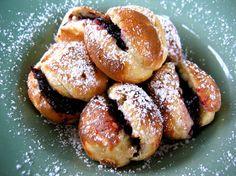 Ebelskivers (Scandinavian pancakes) with lingonberry jam