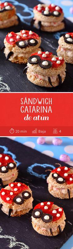 Diviértete con tus hijos preparando este mini sándwich de catarina con atún hechos de pan integral. Son perfectos como una botana en fiestas infantiles, el día del niño o para el lunch a la hora del recreo. ¡Le encantarán!