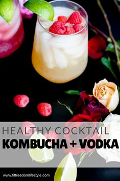 Kombucha Cocktail – Fit Freedom Lifestyle / Healthy Cocktail / Simple and Healthy Drinks for Summer Healthy Mixed Drinks, Vodka Mixed Drinks, Healthy Cocktails, Vodka Cocktails, Cocktail Drinks, Drinks Alcohol, Holiday Cocktails, Kombucha Drink, Kombucha Cocktail