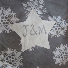 Silver grey name on star/heart - personalized christmas stocking