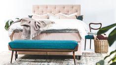 Djuphäftad sänggavel i sammet - Köp på Sweef.se!