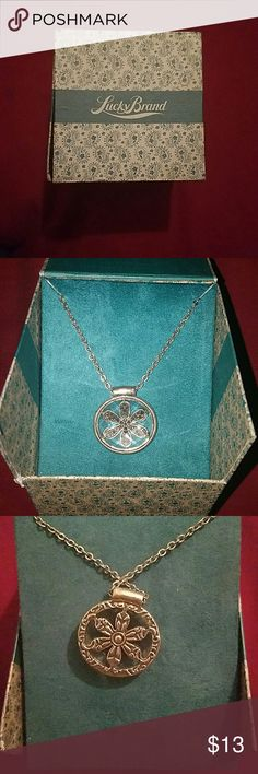 Flower Necklace Short silver chain. Never been worn, still has tag. Lucky Brand Jewelry Necklaces