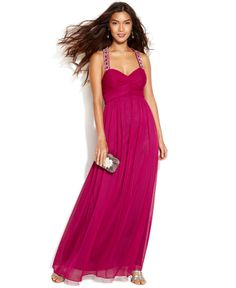 Betsy & Adam Sleeveless Pleated Beaded Gown - Dresses - Women - Macy's