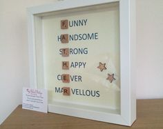 Father's Day scrabble frame by MyBelovedBoutique on Etsy Scrabble Tile Crafts, Scrabble Art, Scrabble Letters, Diy Cadeau, Daddy Day, Fathers Day Crafts, Frame Crafts, Button Crafts, Box Frames