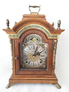 Listed On eBay & FREE POST, Rare Dutch Vintage Warmink Green Band Oak 10.2'' Bracket Clock, Moon Phase http://www.ebay.co.uk/itm/Rare-Dutch-Warmink-Green-Band-Oak-Wood-Bracket-Clock-Moon-Phase-/390970133546?