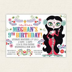Sugar Skull Birthday Invitation Day Of The Dead Dia de los Muertos Printable Digital Invite quinceneara sugarskull