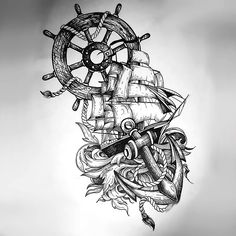 An amazing nautical tattoo design in sketch style. A ship, an anchor and a ship wheel make a great image.