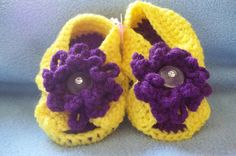 BABY SANDALS-Yellow and Purple Crochet Baby Sandal.
