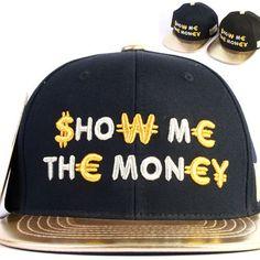 NEW Korean Hip Hop Style Snapback SHOW ME THE MONEY Lettet Hats Unisex Ball Caps