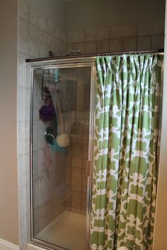 Might still hang a shower curtain next year even if I have a glass sliding door shower because colorful... Can even put a holder on the side and bunch it over to look cute