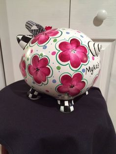 Custom Hand Painted Piggy Bank personalized by paintingbymichele Whimsical Painted Furniture, Hand Painted Furniture, Pottery Painting, Ceramic Painting, Homemade Gifts For Friends, Pig Bank, Personalized Piggy Bank, Paint Your Own Pottery, Cute Piggies