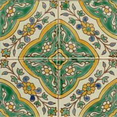 Керамическая плитка MAADNOUSSI  - узор. Тунисская майолика, ручная роспись. Doremail, Тунис