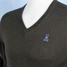 Psycho Bunny Sweater Mens 2XL Soft Cotton Cashmere Brown V Neck Blue Logo XXL #PsychoBunny #VNeck
