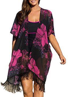 Youngbox Chiffon Plus Size Swimsuit Cover Up Floral Beach Dresses Tunic - Plus Size Swimwear