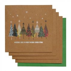 Stampy trees kraft charity Christmas cards - pack of 8
