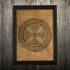 Celtic cross print. Celtic poster. Symbol decor. Burlap print.  PLEASE NOTE: this is not actual burlap, this is an art print, the image is printed