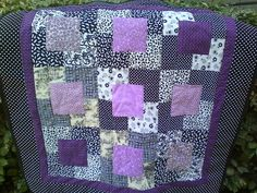 Purple Handmade Floating Block Quilt.
