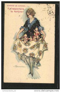 Artiste-CPA Adolfo Busi: Il t` apportera la fortune, Frau trÀgt kleine Kinder in ihrem Kleid