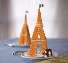 Eiffel Tower cookie sundae. Fun idea for a travel themed kid's party.