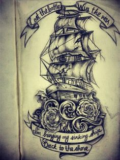 Perhaps something like this on my back with the wind quote or...........  SEAS THE DAY!!!!