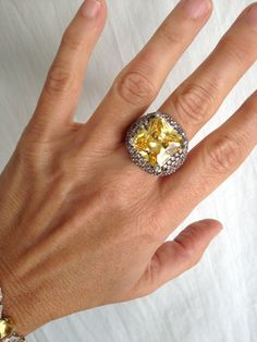 Vintage Sterling Silver Citrine and Pave by WOWTHATSBEAUTIFUL