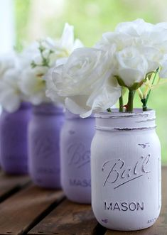 Lavender Mason Jars - Painted & Distressed Mason Jars in Lavender