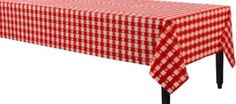 Red Gingham Table Cover - Gingham Tablecloth - Party City $3 need to buy 9 (3 for bridal party table and 3 for food table)