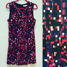 #40: $20 – Calvin Klein Pixel Shift Dress – Large – (Orig. $48) – Pleating in front.